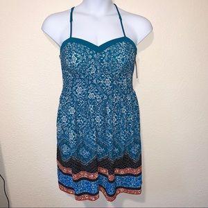 Xhilaration Teal Boho Crochet Back Dress XXL